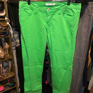 Lime Green Flying Monkey Skinny Jeans Size 13